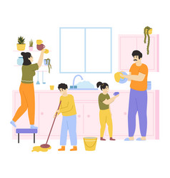 Family cleaning house family with kids do vector