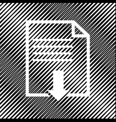 File download sign icon hole in moire vector
