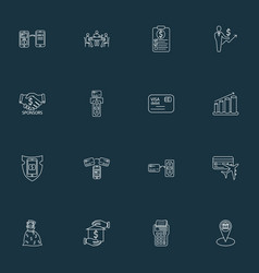 Finance icons line style set with miles card vector