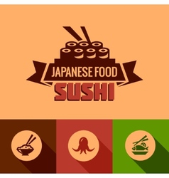 Flat template of sushi bar menu vector