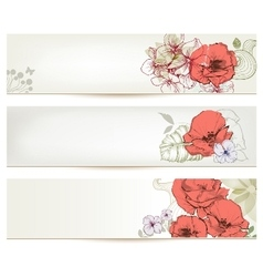 Floral headers Cute flowers banner set vector
