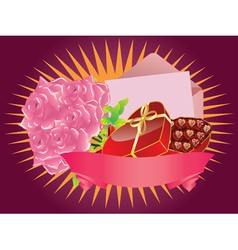 Gift box and roses2 vector image vector image