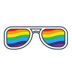 Glasses with rainbow lenses vector