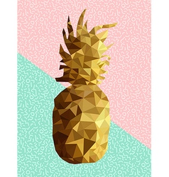 Gold low poly pineapple design with retro shapes vector