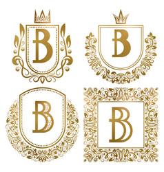 Golden vintage monograms set heraldic logos b vector