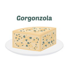 Gorgonzola italian blue cheese on plate vector