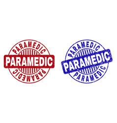 Grunge paramedic textured round watermarks vector
