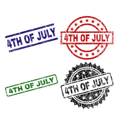 grunge textured 4th of july seal stamps vector image