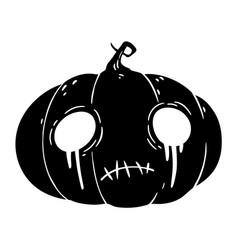 halloween pumpkin with sad face vector image