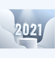Happy new year 2021 big 3d ice numbers on vector