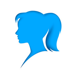 head avatar girl wooman flat shadow icon vector image