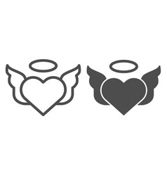 heart with pair of wings line and glyph icon vector image