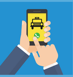 Human hand holds smartphone with mobile app taxi vector
