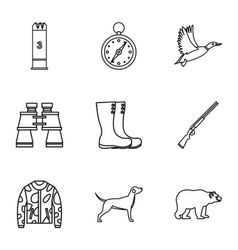 Hunting in forest icons set outline style vector