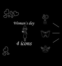 i love you womens doodle 4 icon in set of womens vector image