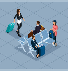 isometric 3d teenager freelancer travelers vector image