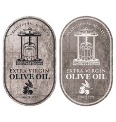 Labels for olive oil with oil press and barrel vector