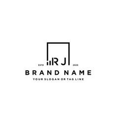 Letter rj square logo finance design vector