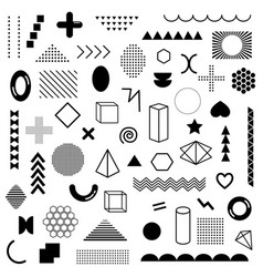 mega pack black geometric shapes isolated vector image