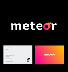 meteor logo letter o like comet business card vector image