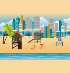 Miami beach cityscape set scenes vector