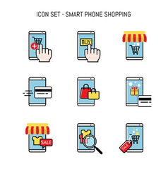 Mobile shopping smart phone merchant and buyer vector