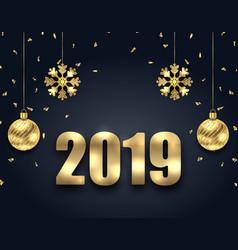 New year dark background with golden balls vector