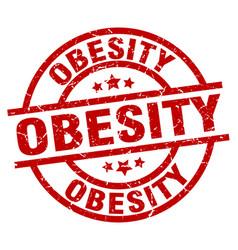 Obesity round red grunge stamp vector
