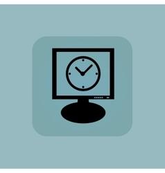 Pale blue clock monitor icon vector