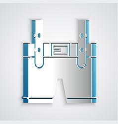 Paper cut lederhosen icon isolated on grey vector