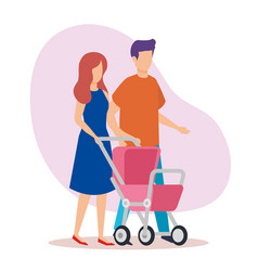 parents couple with cart baby characters vector image
