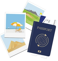 Passport ticket polaroid picture vector image
