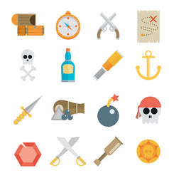 Pirate accessories symbols flat icons collection vector
