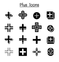 Plus positive cross add icon set vector