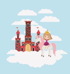 princess with unicorn in the clouds and castle vector image