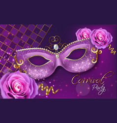 purple ornamented mask and rose flowers vector image