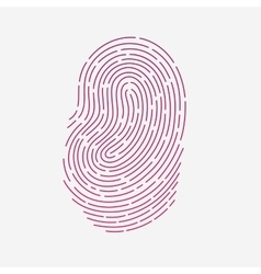 Red touch fingerprint id app with shadows vector image