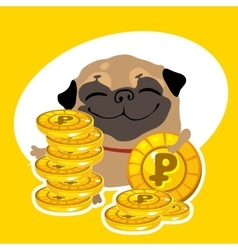 Rich dog pug with gold coins vector