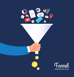 sale funnel lead management optimisation and vector image
