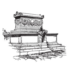 sarcophagus vintage vector image