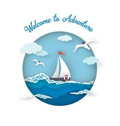 Sea postcard adventure style paper art vector