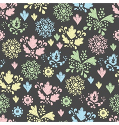 seamless floral pattern drawn in chalk vector image