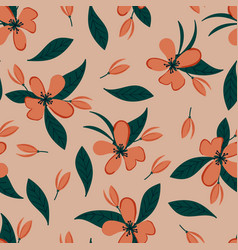 Seamless floral pattern with hand drawn apple vector