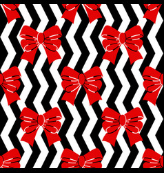 seamless pattern red bows on a black and white vector image