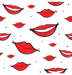 seamless pattern with lips smiling mouth vector image