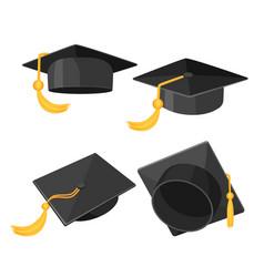 Set mortarboard caps with golden tassels from vector