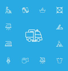 set of 13 editable cleanup icons line style vector image