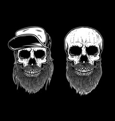 Set of bearded skulls isolated on dark background vector