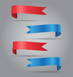 set of blue and red ribbon vector image