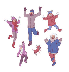 set of different family vector image